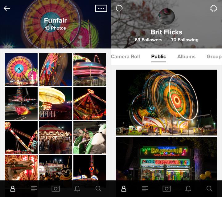 Smartphone screen shots of the Flickr app