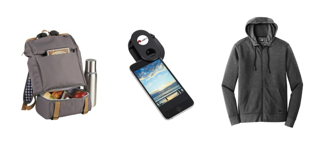 backpack sweatshirt and cell phone lense