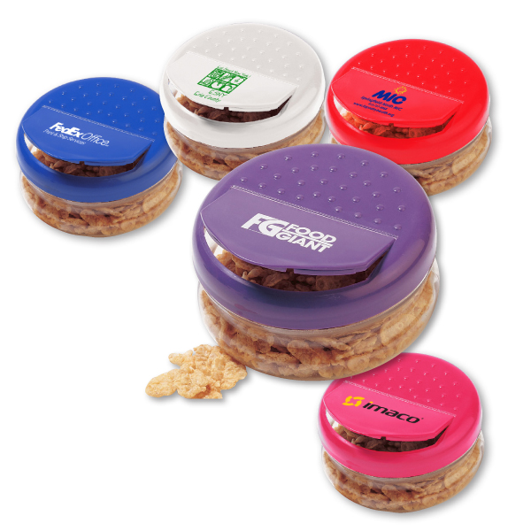 Image of several small snack containers with flip top lid