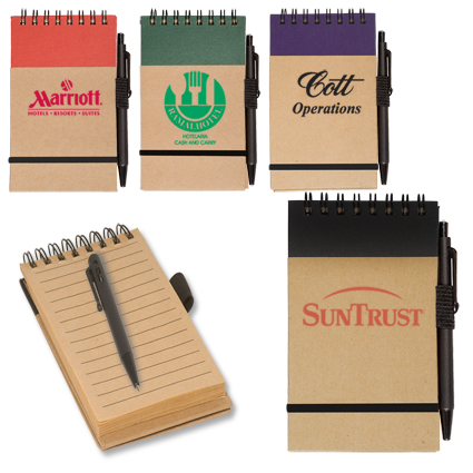 Small recycled notebook with attached pen loop and pen
