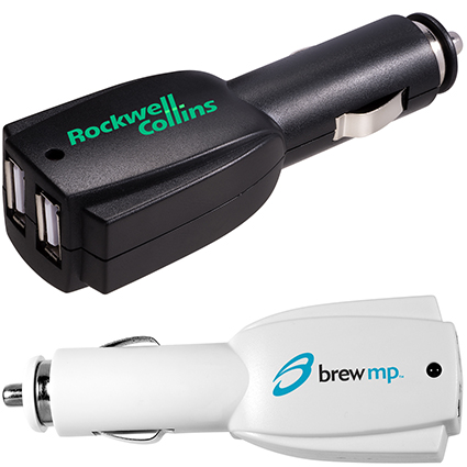 Picture of black and white car charger with two USB connectors