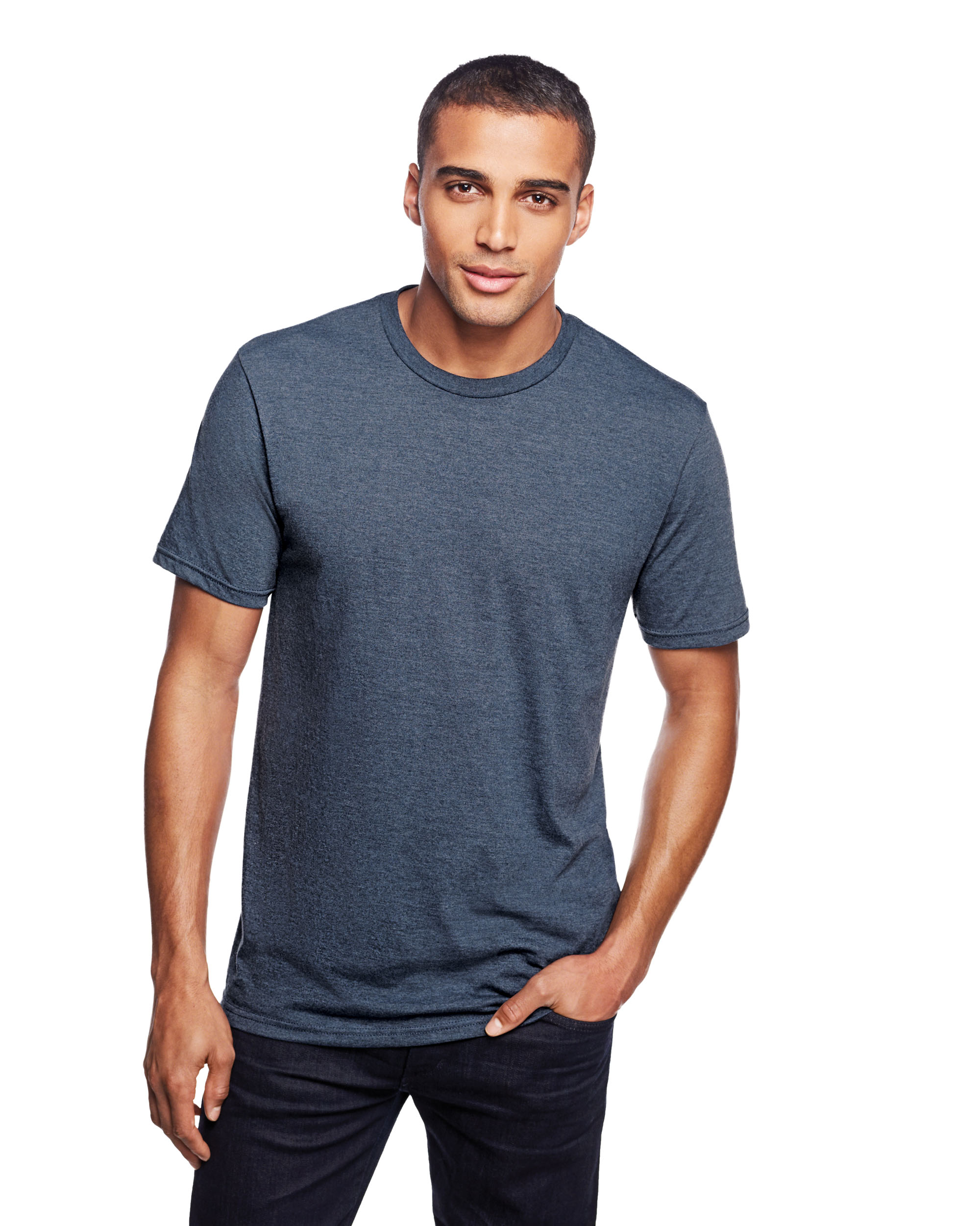male model in navy tri-blend DM130 tee