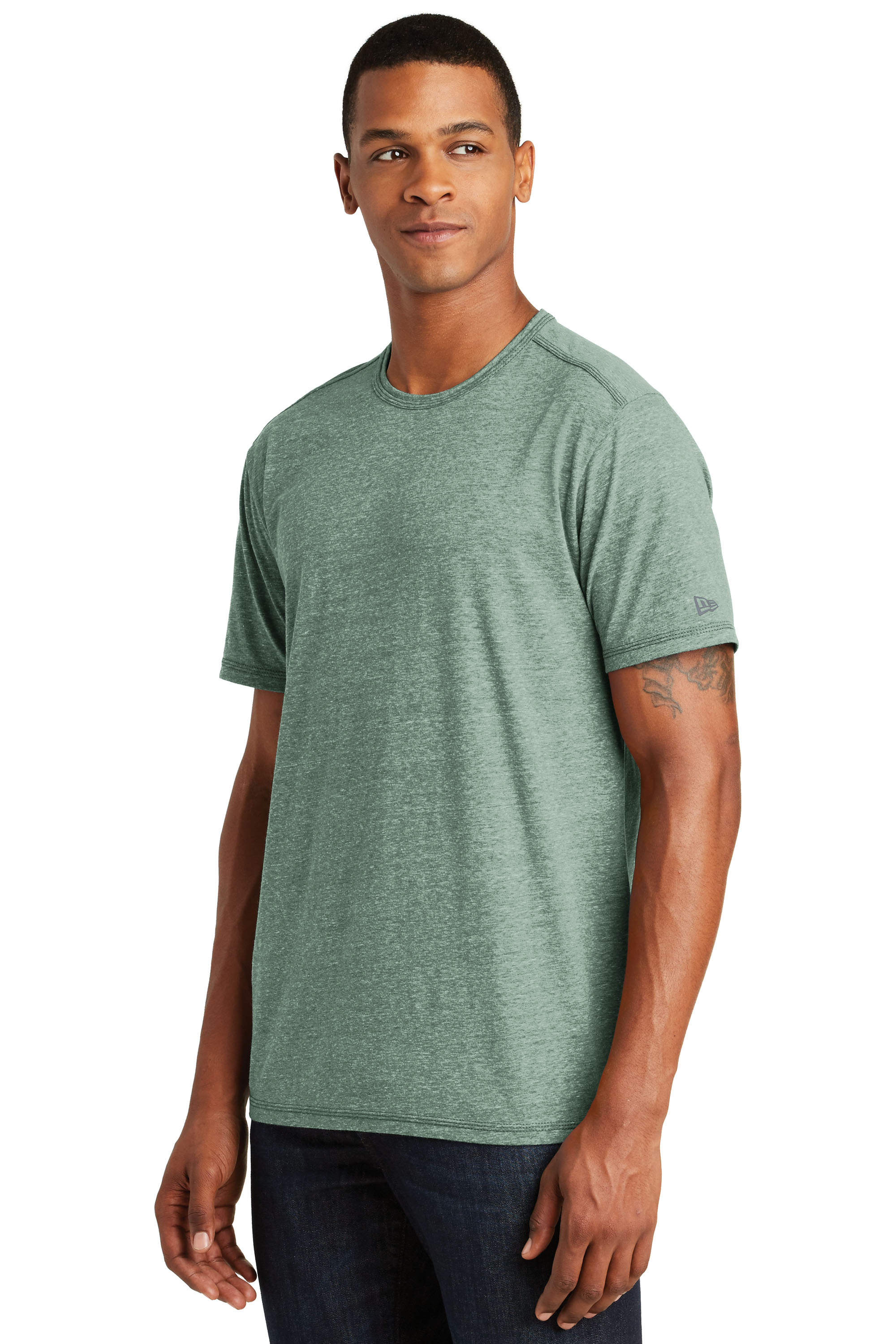 male model in dark green t-shirt