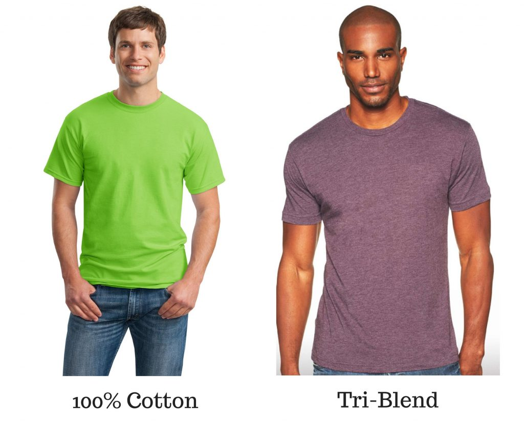 cotton tee shirt and tri-blend tee shirt