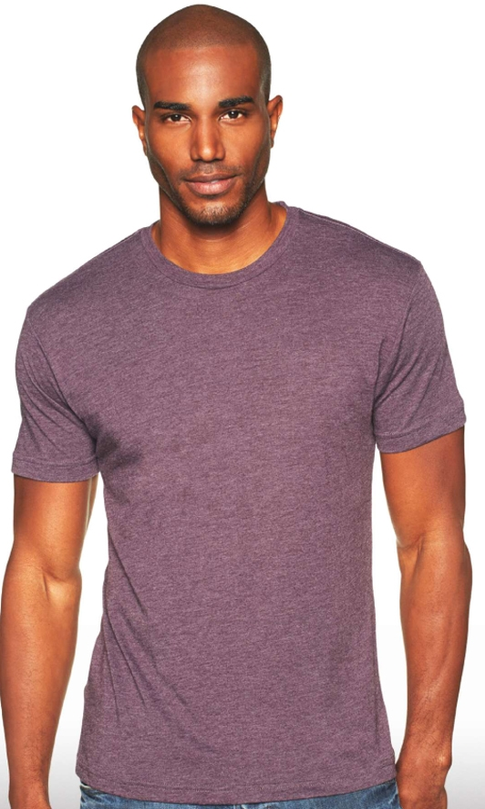 man wearing next level tri blend t-shirt